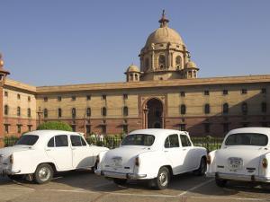 The Secretariats, Rashtrapati Bhavan, with White Official Ambassador Cars with Secretatriat, India by Eitan Simanor