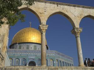Tourists at the Dome of the Rock, Old City, Unesco World Heritage Site, Jerusalem, Israel by Eitan Simanor