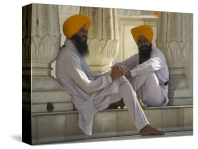 Two Sikhs Priests with Orange Turbans, Golden Temple, Punjab State