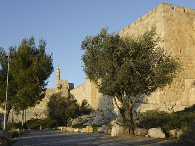 View at Sunset of the City Walls Promenade with Tower of David in Background, Old City, Jerusalem,