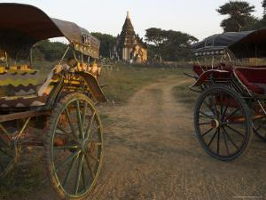 View at Sunset with Horse Cart and Typical Temple, Bagan (Pagan), Myanmar (Burma) by Eitan Simanor