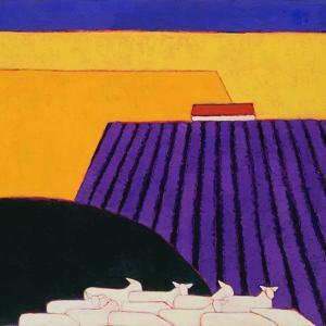 Sheep and Lavender Fields, 2004 by Eithne Donne