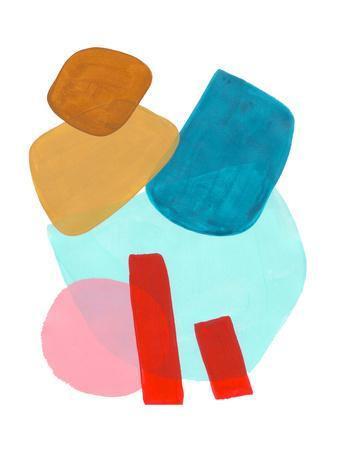 Playful Pastel Pink Yellow Teal Shapes