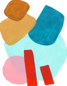 Playful Pastel Pink Yellow Teal Shapes by Ejaaz Haniff