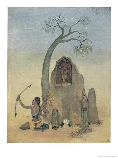 Ekalavya and Drona-Nanda Lal Bose-Giclee Print