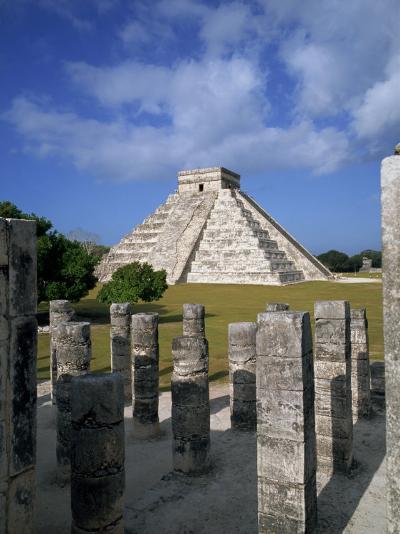 El Castillo from Mil Columnas, Grupo Delas, Chichen Itza, Yucatan, Mexico-Rob Cousins-Photographic Print