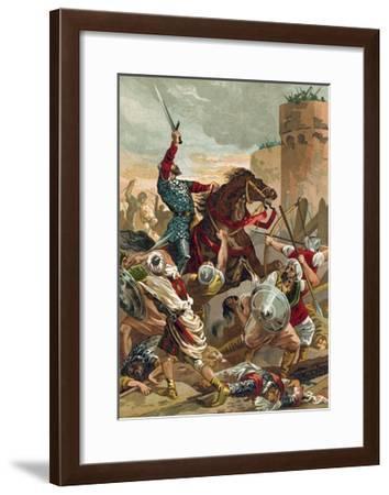 El Cid Threatening the City of Valencia-Spanish School-Framed Giclee Print