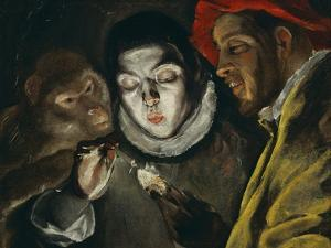 Fabula, Around 1600, a Boy Lights a Candle, as a Monkey and a Bearded Figure Watch by El Greco