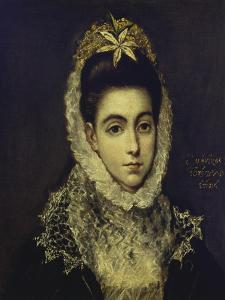Portrait of a Young Lady, Bust Length, Wearing a Black Dress with a White Lace Collar and… by El Greco