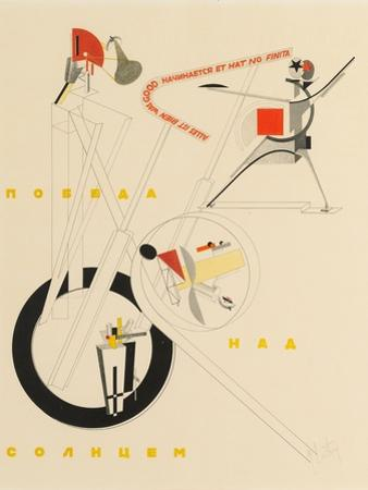 Title Sheet of Victory over the Sun by A. Kruchenykh, 1923 by El Lissitzky