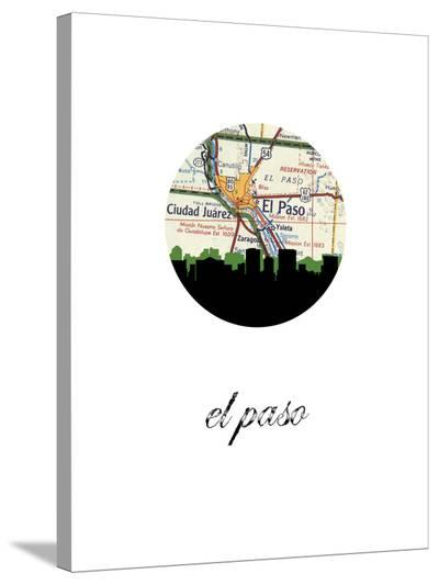 El Paso Map Skyline-Paperfinch 0-Stretched Canvas Print