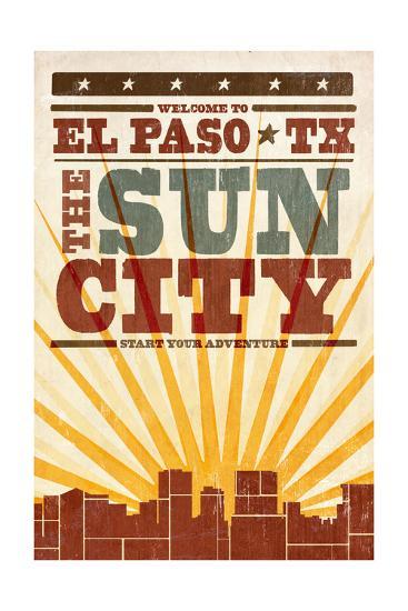 El Paso, Texas - Skyline and Sunburst Screenprint Style-Lantern Press-Art Print