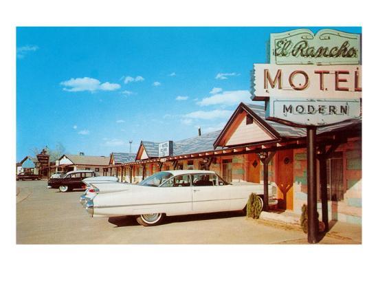 El Rancho Vintage Motel, Cadillac with Fins--Art Print