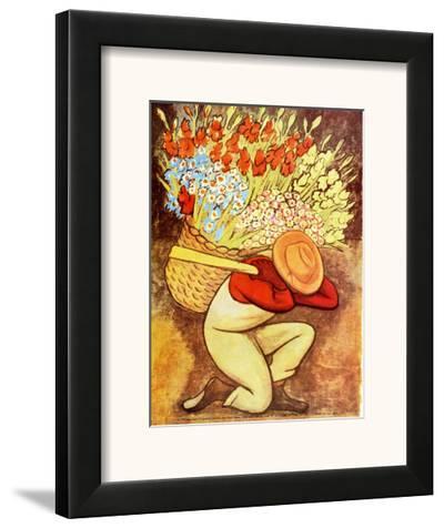 El Vendedora De Flores-Diego Rivera-Framed Art Print