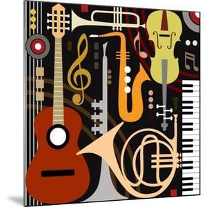 Abstract Colored Music Instruments, Full Scalable Vector Graphic, Change the Colors as You Like. by Ela Kwasniewski