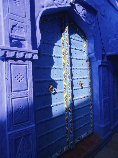 Elaborate Blue Door, the Blue Town of Jodhpur, Rajasthan, India,-Bruno Morandi-Photographic Print