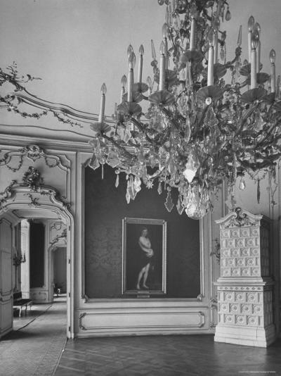 Elaborate Crystal Chandeliers Hanging from Ceilings in Kunsthistoriches Museum-Nat Farbman-Photographic Print