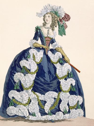Elaborate Royal Court Dress in Navy Blue with Luxuriant White Frill Design-Augustin De Saint-aubin-Giclee Print