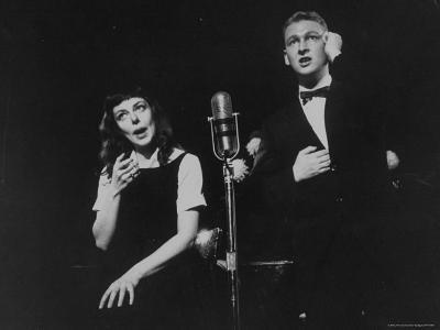 """Elaine May and Mike Nichols Appearing at the """"Blue Angel""""-Peter Stackpole-Premium Photographic Print"""