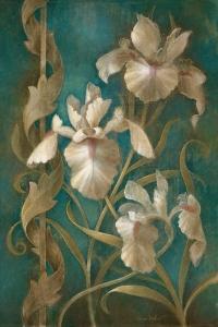 Irises on Teal by Elaine Vollherbst-Lane