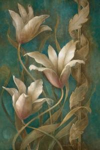 Tulips on Teal by Elaine Vollherbst-Lane