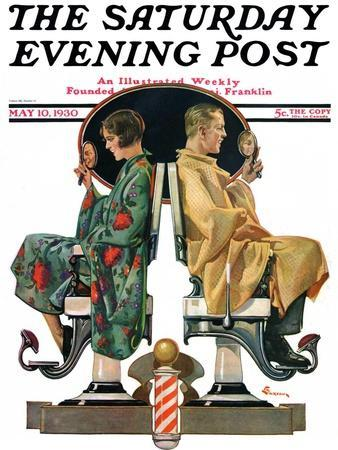 """Couple in Barber Chairs,"" Saturday Evening Post Cover, May 10, 1930"