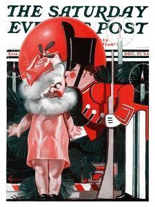 """Kewpie Doll Kiss,"" Saturday Evening Post Cover, December 27, 1924 by Elbert Mcgran Jackson"