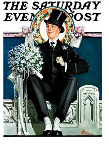 """Patient Groom,"" Saturday Evening Post Cover, April 21, 1928 by Elbert Mcgran Jackson"