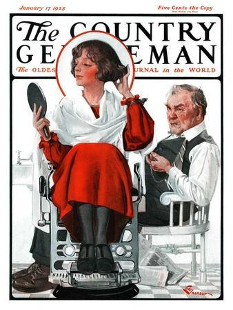 """Woman Gets Bob at Barbershop,"" Country Gentleman Cover, January 17, 1925"