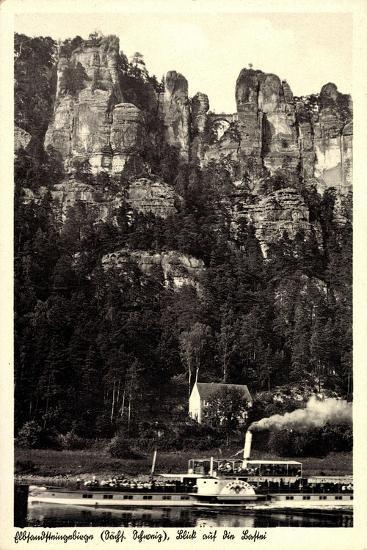 Elbsandsteingebirge, Bastei, Dampfer Karlsbad--Giclee Print
