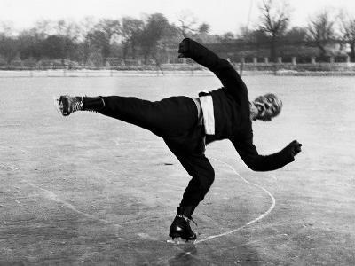 Elderly Chinese Man Ice Skating-Jack Wilkes-Photographic Print