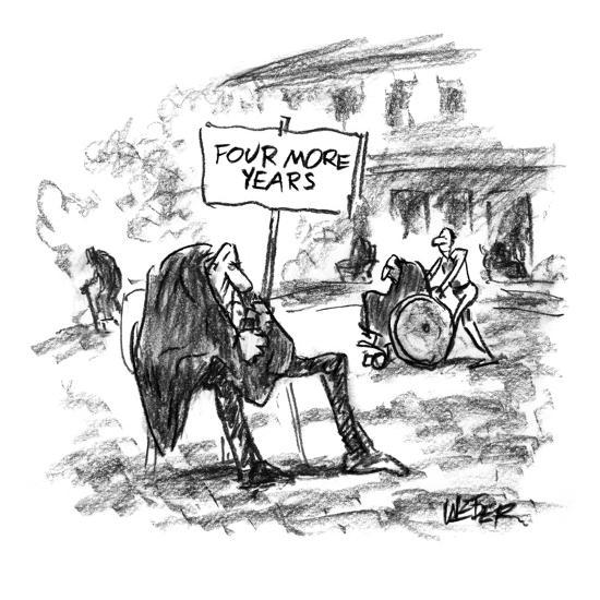 Elderly man sitting in yard of nursing home with sign that reads, 'Four Mo? - New Yorker Cartoon-Robert Weber-Premium Giclee Print
