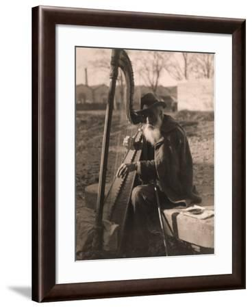 Elderly Musician Playing the Harp-Giosue Nencioni-Framed Photographic Print