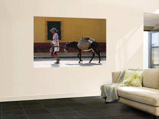 Elderly Woman Walking with Her Donkey-Margie Politzer-Wall Mural