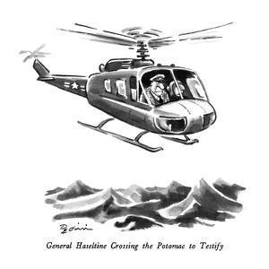 General Haseltine Crossing the Potomac to Testify - New Yorker Cartoon by Eldon Dedini