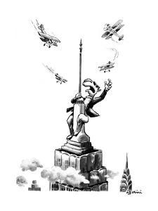 Joe Camel fights off biplanes on the Empire State Building as if he were K? - New Yorker Cartoon by Eldon Dedini