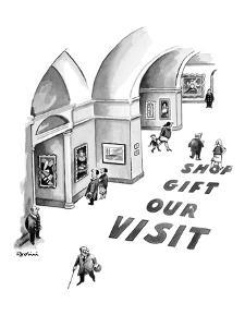 Large words printed on museum floor read, 'Visit Our Gift Shop.' - New Yorker Cartoon by Eldon Dedini