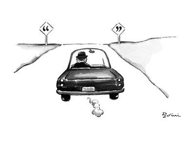 Man in car driving off and on either side of the road are signs with quota? - New Yorker Cartoon