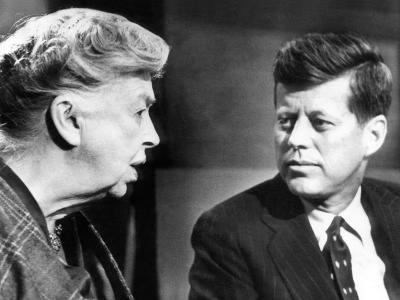 Eleanor Roosevelt and Sen John F Kennedy in a Public Appearance at Brandeis University--Photo