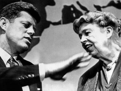 Eleanor Roosevelt and Sen John Kennedy in a Public Appearance at Brandeis University--Photo