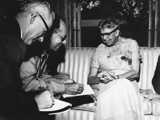 Eleanor Roosevelt Being Interviewed by Miami Herald Political Reporter John Mcdermott--Photographic Print