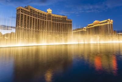 Bellagio and Caesars Palace Reflections at Dusk with Fountains, the Strip, Las Vegas, Nevada, Usa by Eleanor Scriven