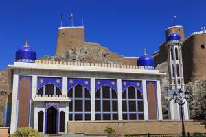 Blue Domed Mosque with Minaret and Al-Mirani Fort, Old Muscat, Oman, Middle East by Eleanor Scriven