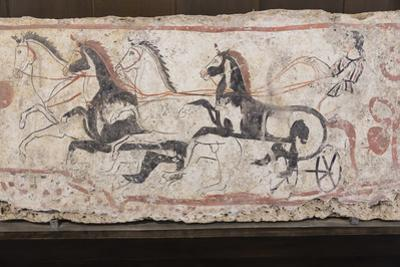 Charioteer and Horses, Painted Tomb Slab Detail, National Archaeological Museum