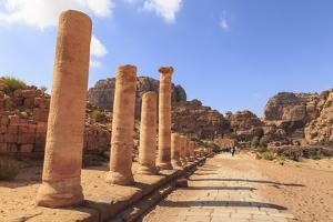 Colonnaded Street, City of Petra Ruins, Petra, UNESCO World Heritage Site, Jordan, Middle East by Eleanor Scriven