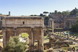 Elevated View from Behind the Capitol of the Arch of Septimius Severus in the Forum, Rome, Lazio by Eleanor Scriven