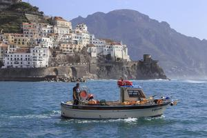 Fisherman in Fishing Boat Heads Out to Sea from Amalfi Harbour by Eleanor Scriven
