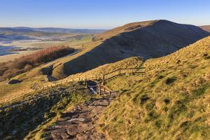 Frosty morning, Great Ridge, view to Rushup Edge from slopes of Mam Tor, near Edale, Peak District, by Eleanor Scriven