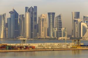 Futuristic Doha City Skyline and Container Port, Doha, Qatar, Middle East by Eleanor Scriven