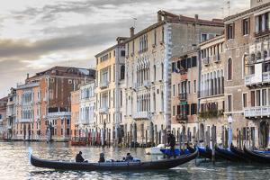 Gondola, La Volta, Grand Canal, elaborate Gothic palazzi at sunset in winter, Venice, UNESCO World  by Eleanor Scriven